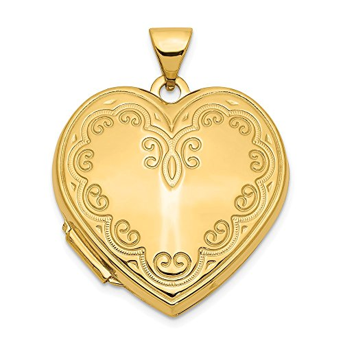 14k Yellow Gold Heart Photo Pendant Charm Locket Chain Necklace That Holds Pictures Fine Jewelry Gifts For Women For Her