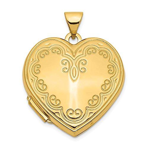 - Jewel Tie 14K Yellow Gold Heart Locket - (1.02 in x 0.87 in)