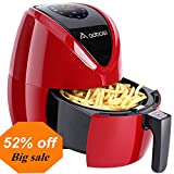 Aobosi Digital Air Fryer Oil Free Hot Airfryer LED Touch Screen Multifunctional Programmable Cooking Set with Free Cookbook Red