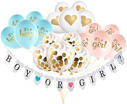 Gender Reveal Party Supplies, Boy or Girl Banner and Balloons Baby Shower Party ()