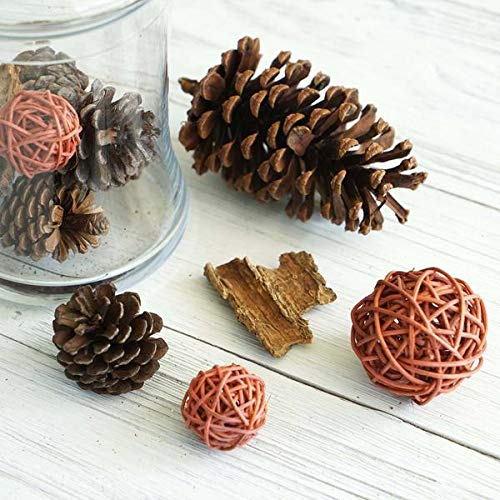 Pine Rattan Table - Tableclothsfactory 13 Pack Natural Pine Cones Rattan Balls and Barks Assorted Potpourri Vase Fillers Bowl DIY Table Decorations