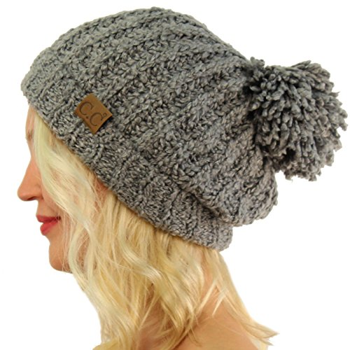 Chenille Beanie Hat - Winter CC Soft Chenille Pom Pom Warm Chunky Stretchy Knit Beanie Cap Hat Natural Gray