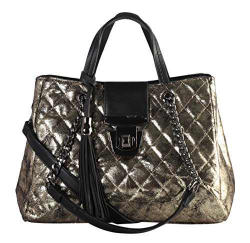 Diophy PU Leather Metal Color Quilted Pattern 3-Ways Use Tote JU-6471
