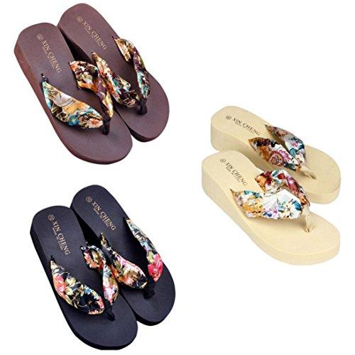 Summer Women Sandals, | Bohemia Floral Beach Sandals Platform Thongs Slippers | Bohemia High Heels Ankle Flat Wedges Shoes Footwear Flip-Flops Sandal | No Rubbing | Foot Toes Comfortable Coffee