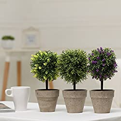 MyGift Mini Tabletop Faux Potted Artificial Topiary Plants in Ceramic Pots, Set of 3