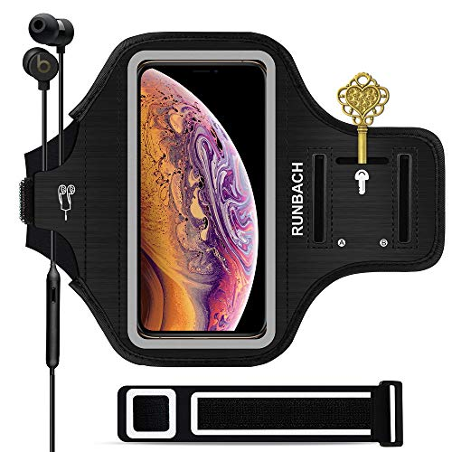 iPhone Xs Max Armband,RUNBACH Sweatproof Running Exercise Gym Cellphone Sportband Bag with Fingerprint Touch/Key Holder and Card Slot for iPhone Xs Max (Black)