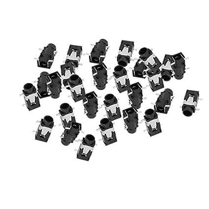 Amazon.com: eDealMax 3,5 mm DE 4 Pines SMD PCB soldadura estéreo Jack hembra del conector DE 29 piezas: Electronics