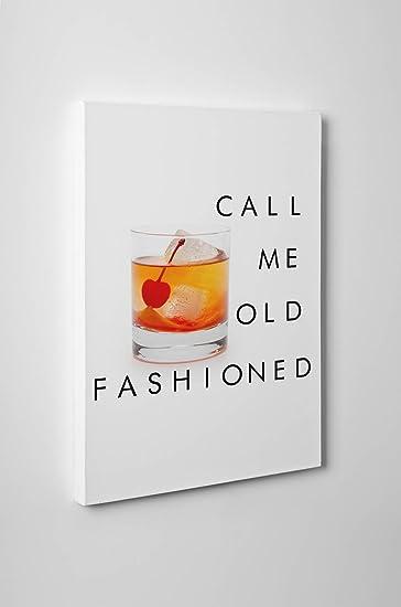 Amazoncom Custom Call Me Old Fashioned Canvas Bar Cart Canvas Art