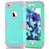 Case for iPhone SE, Shockprooof Armor Hybrid Rugged Triple Layer Combo Case with Soft Silicone Inner Skin and Rugged Hard Plastic Outer Shell for Apple iPhone 5 & 5S & SE (Mint Green Gray)