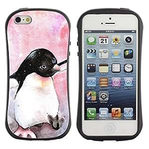 "Hypernova Slim Fit Dual Barniz Protector Caso Case Funda Para Apple iPhone SE / iPhone 5 / iPhone 5S [Acuarela pingüino pájaro de bebé Antártida""]"