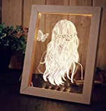 FL-716 3D Photo Frame Illuminative LED Night Light Wooden Girl Desktop Decorative USB Lamp For Bedroom Art Decor Christmas Gifts by Superjune (Log color)