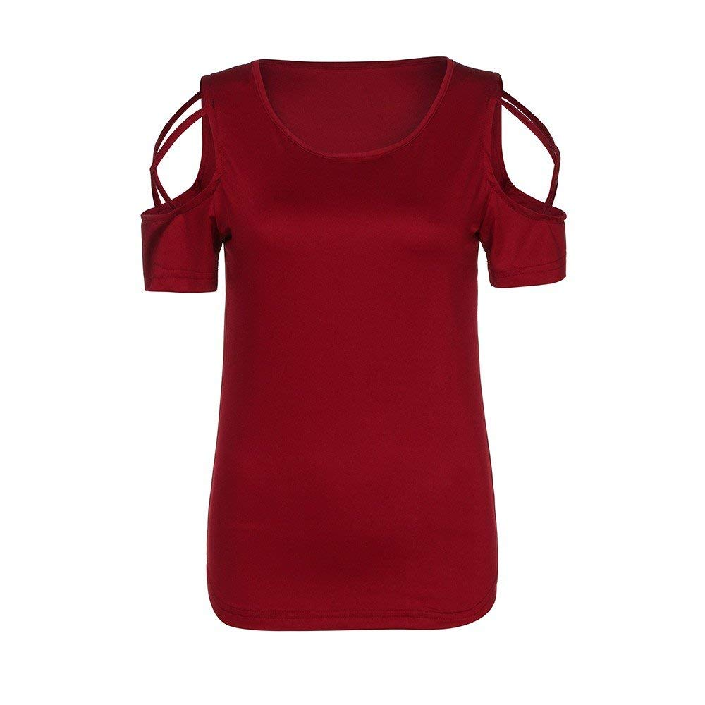Womens Casual Strappy Cold Shoulder Basic Tees T-Shirt Solid Short Sleeve Summer O-Neck Blouses Tops Juniors