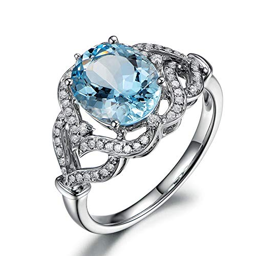Brilliant Cut Tahitian Ring - Epinki 925 Sterling Silver Ring Oval Rings Wedding Brilliant Women Ring Engagement Blue with Blue Topaz Halo Ring Diamond Size 6.5