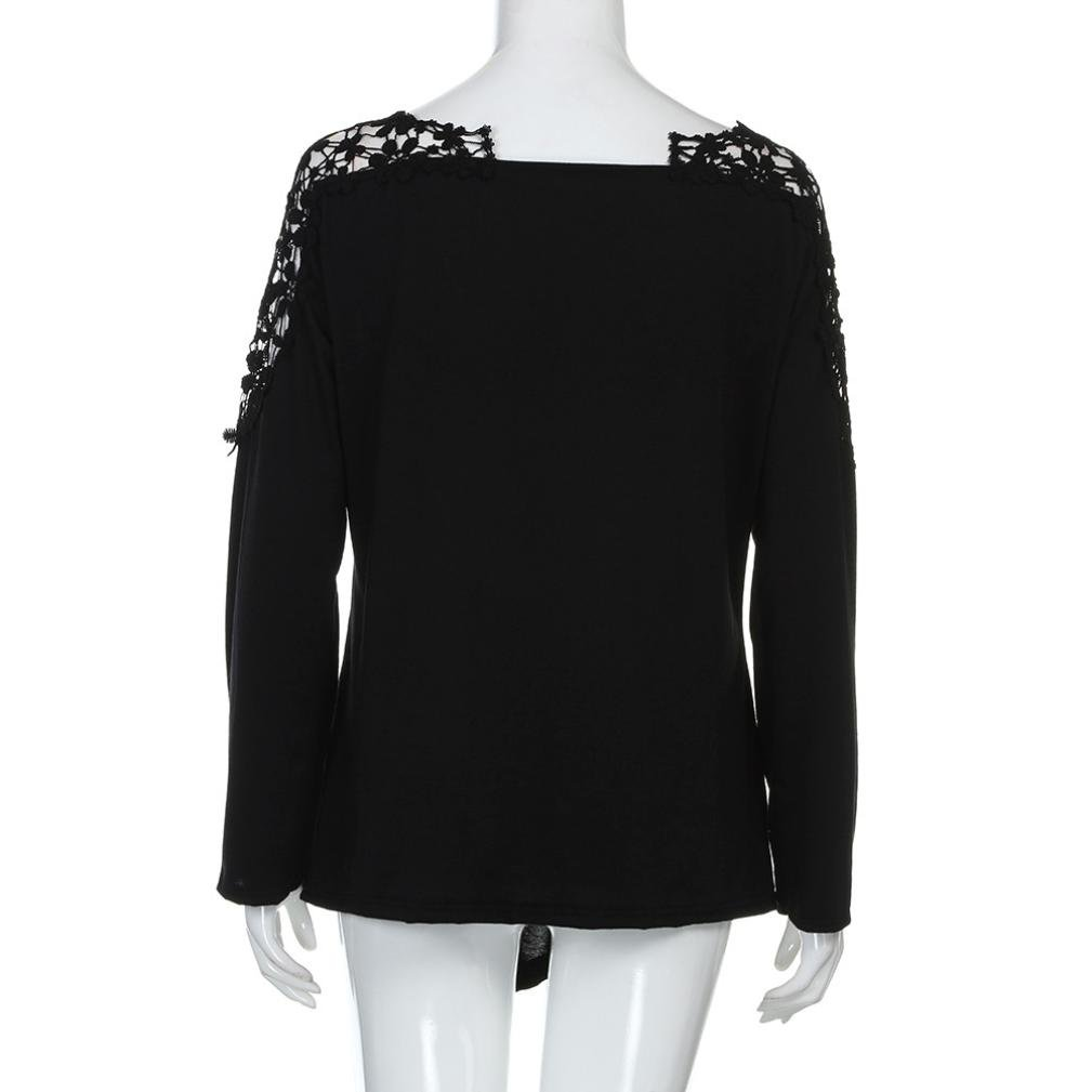 Anxinke Womens Lace Patchwork Hollow Out Long Sleeve Shirts Top V Neck Curved Hem Blouse Plus Size (Black, 7XL) by Anxinke Women Blouse (Image #6)