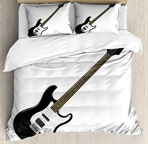 VCFUN Family Comfort Bed Sheet Guitar Bass Four String Rhythm Music Rock Roll Element Detailed Black White Caramel, 4 Piece Bedding Sets Duvet Cover Oversized Bedspread, Queen Size (String Top Guitar Bass Quilt)