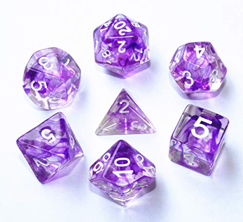 HD DND Dice Set RPG Purple Polyhedral Dice for Dungeons and Dragons(D&D) Pathfinder MTG Role Playing Dice Table Game Board Games Flowing Series Transparent Dice Group