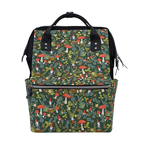 Woodland Gnomes Diaper Bag Multi-Function Travel Backpack Nappy Tote Bags for Mom & Dad Large Capacity ()