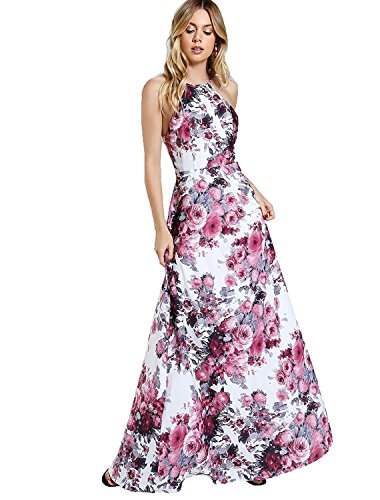 Floerns Women's Sleeveless Halter Neck Vintage Floral Print Maxi Dress White-Pink XL