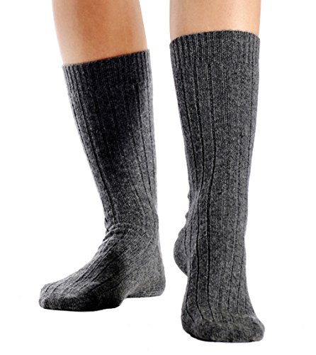 Cashmere Boutique: 100% Pure Cashmere Unisex Socks (Color: Black, Size: Large/Extra Large)