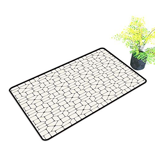 - Printed Door mat Geometric Black and White Mosaic Pavement Tile Bricks Modern Conceptual Tracery Design W35 xL59 Country Home Decor Beige Black