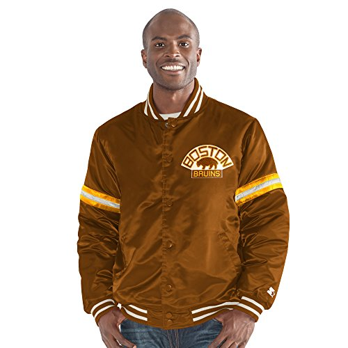 STARTER NHL Boston Bruins Men's Legacy Retro Satin Jacket, Small, Brown