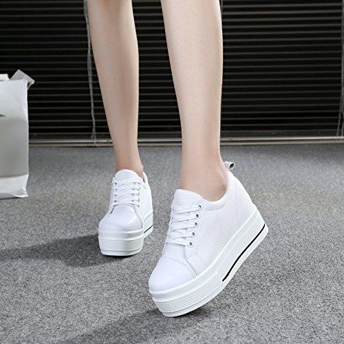 GTVERNH Zapatillas de mujer/Verano/Prendedor Bajo Lona Muffin Parte inferior Zapatos de Mujer Zapatos de aumento de altura Wild Zapatos Casual blanco