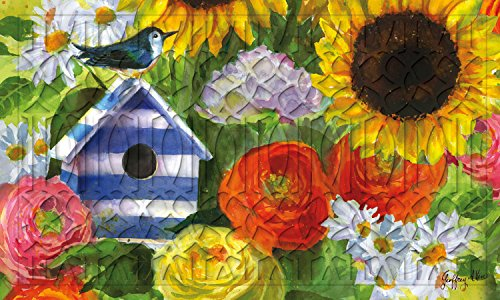 Evergreen Sunflower Birdhouse Embossed Floor Mat, 18 x 30 (Evergreen Enterprises Birdhouse)