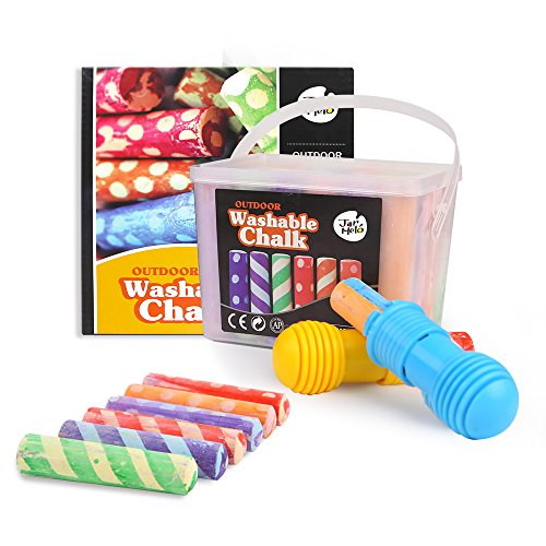 - Jar Melo Washable Chalk- 24 Colors; Sidewalk Jumbo Crayon Chalk; Outdoor Fun;Dust Free; Dotted Chalk with Chalk Holder