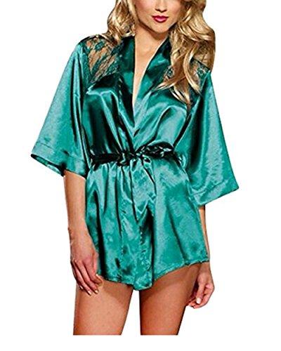 Leisial Lencería Seda Ropa Interior del Camisón del Cordón Salto Bata de Noche Ropa de Dormir para Mujer Negro S Verde XL