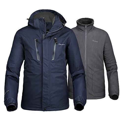 (OutdoorMaster Men's 3-in-1 Ski Jacket - Winter Jacket Set with Fleece Liner Jacket & Hooded Waterproof Shell - for Men (Deep Blue,M))