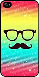 Rainbow-Glasses and Mustache- For Iphone 5/5S Phone Case Cover Universal-Hard Black Plastic
