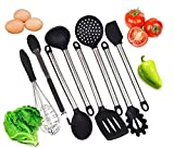 Kitchen Utensil Set-Professional Quality with 8 Black Cooking Tools-Made with High Heat Resistant BPA Free Silicone and Heavy Duty Stainless Steel-Dishwasher Safe Premium Utensils-For non stick pans