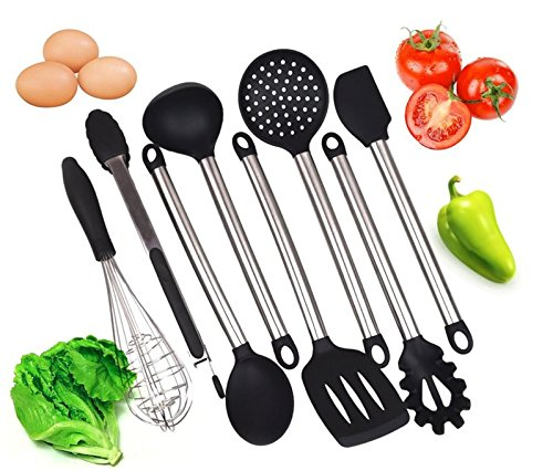 Kitchen Utensil Set-Professional Quality with 8 Black Cooking Tools-Made with High Heat Resistant BPA Free Silicone and Heavy Duty Stainless Steel-Dishwasher Safe Premium Utensils-For non stick pans by Kitchen Stuff & Beyond