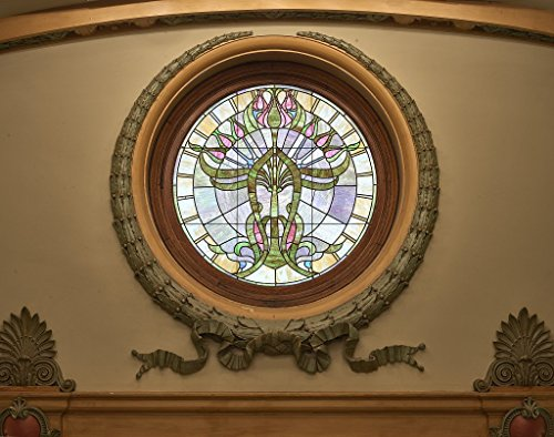 Photograph | Stained-glass window at the top of the grand staircase at the Mississippi State Capitol in Jackson| Fine Art Photo Reporduction 55in x 44in
