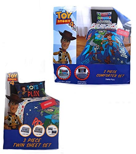Toy Story 4 Twin Size Reverible Comforter and Sheet Set-5 Pieces
