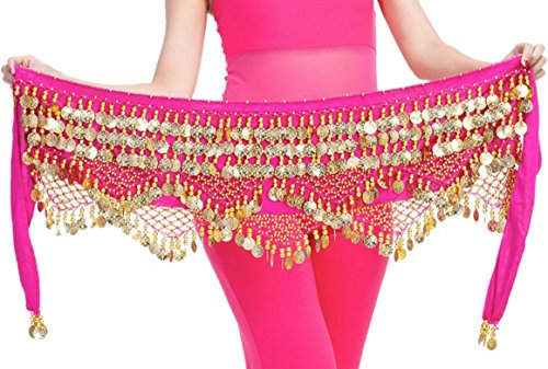 Aivtalk Belly Dance Belt Costume for Women Gypsy Skirt with Coin Hip Scarf Waist Chain Practice Clothing Wear Rose Red
