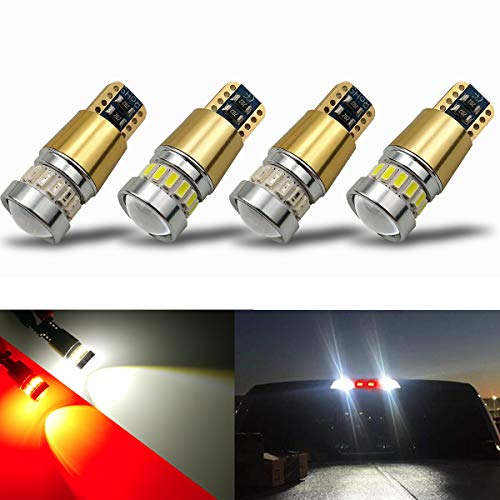 2019 Chevrolet C2500 Mirror - iBrightstar Newest 12-24V Super Bright 194 912 921 168 175 2825 W5W T10 LED Bulbs with projectors For Car Truck 3rd Brake Lamp Cargo Lights, White/Red