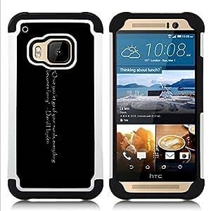 For HTC ONE M9 - Funny Joke Quote Morals Let Go Positive Life /[Hybrid 3 en 1 Impacto resistente a prueba de golpes de protecci????n] de silicona y pl????stico Def/ - Super Marley Shop -