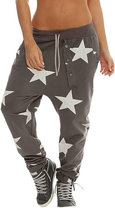 Sylar Pantalones Para Mujer De Invierno Moda Estampado De Estrellas Cinturon Suelto Pantalones De Haren Pantalones De Pierna Ancha S 2xl Amazon Es Ropa Y Accesorios