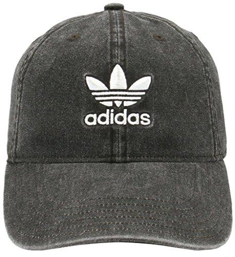 Denim Headgear Cap (adidas Women's Originals Relaxed Fit Strapback Cap, Black Denim/White, One Size)