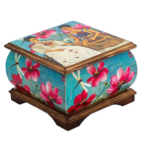 NOVICA Frida Floral Decoupage Wood Decorative Box with Pink Flowers and Dragonflies, Two Fridas in Turquoise'