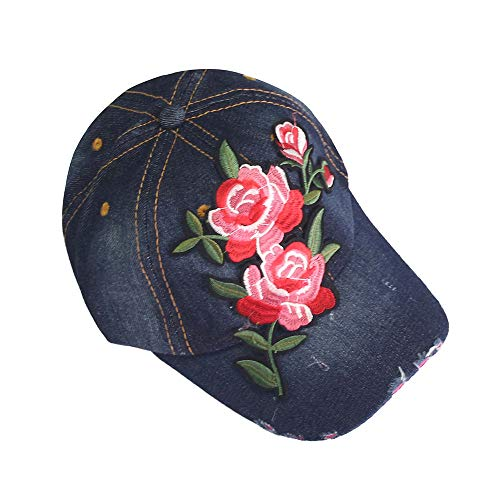 Cap Denim Headgear (MaxFox Women Embroidered Flower Baseball Denim Cap Fashion Topee Hip Hop Adjustable Flat Hats Headgear Decor (B))