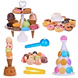 54Pcs Kids Games Scoop Stacking Toys, Ice Cream Cone Desserts Tower - Pretend Play Food, Kids Balance Game,Birthday Party Favors