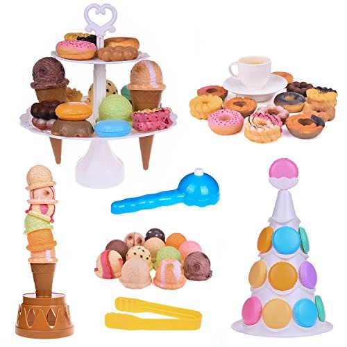 Fun Little Toys Scoop Stacking Ice Cream Cone and Desserts Tower-54Pcs Pretend Food Play Set for Kids Balancing Game,Birthday Party Favors