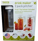 Takeya Drink Maker 2 Pack Pitcher (Pack of 2 / Fruit & Tea Infuser Included) (White)