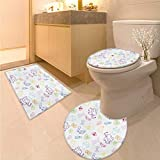 Anhuthree Nursery bathmat Toilet mat Set Cartoon Drawing Style Baby Elephants Teddy Bears Flowers Butterflies Bees Pattern 3 Piece Large Contour Mat Set Multicolor
