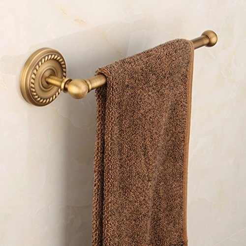Aimeer European Antique Brass Towel Bar Flowers Carved Rack Wall Mount Circular Base Clothes Hanger