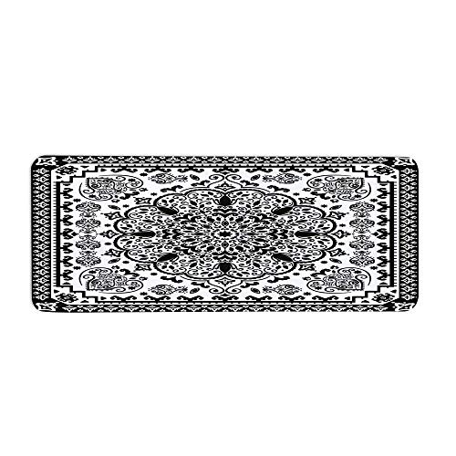 Ethnic Fashionable Long Door Mat,Ethnic Mandala Floral Lace Paisley Mehndi Design Tribal Lace Image Art Print Decorative for Home Office,23.6