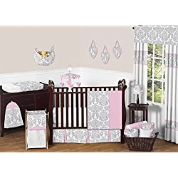 Pink, Gray and White Elizabeth Baby Girl Bedding 11pc Crib Set without bumper