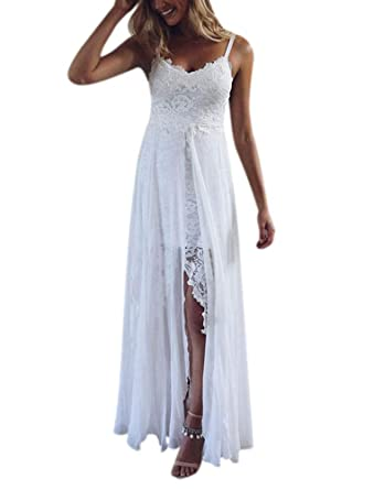 191e1a986b8 QueenBridal Retro Spaghetti Straps Lace Backless High Slit Long Chiffon  Beach Wedding Dress QU98 at Amazon Women s Clothing store